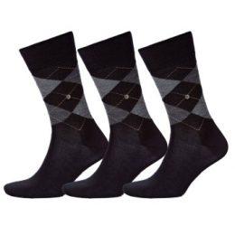 Burlington Strumpor 3P Edinburgh Wool Sock Svart Strl 40/46 Herr