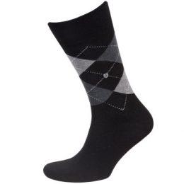 Burlington Strumpor Manchester Mercerised Cotton Sock Svart/Rutig merceriserad bomull Strl 40/46 Herr