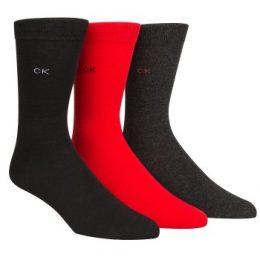 Calvin Klein Strumpor 3P Maddox Flat Knit Socks Gift Box Svart/Röd Strl 40/46 Herr