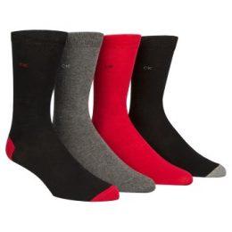 Calvin Klein Strumpor 4P Freddie Bonus Heel Toe Sock Svart/Röd Strl 40/46 Herr