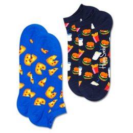 Happy socks Strumpor 2P Junk Food Low Socks Blå Mönstrad bomull Strl 36/40