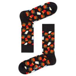 Happy socks Strumpor Hamburger Sock Svart mönstrad bomull Strl 36/40